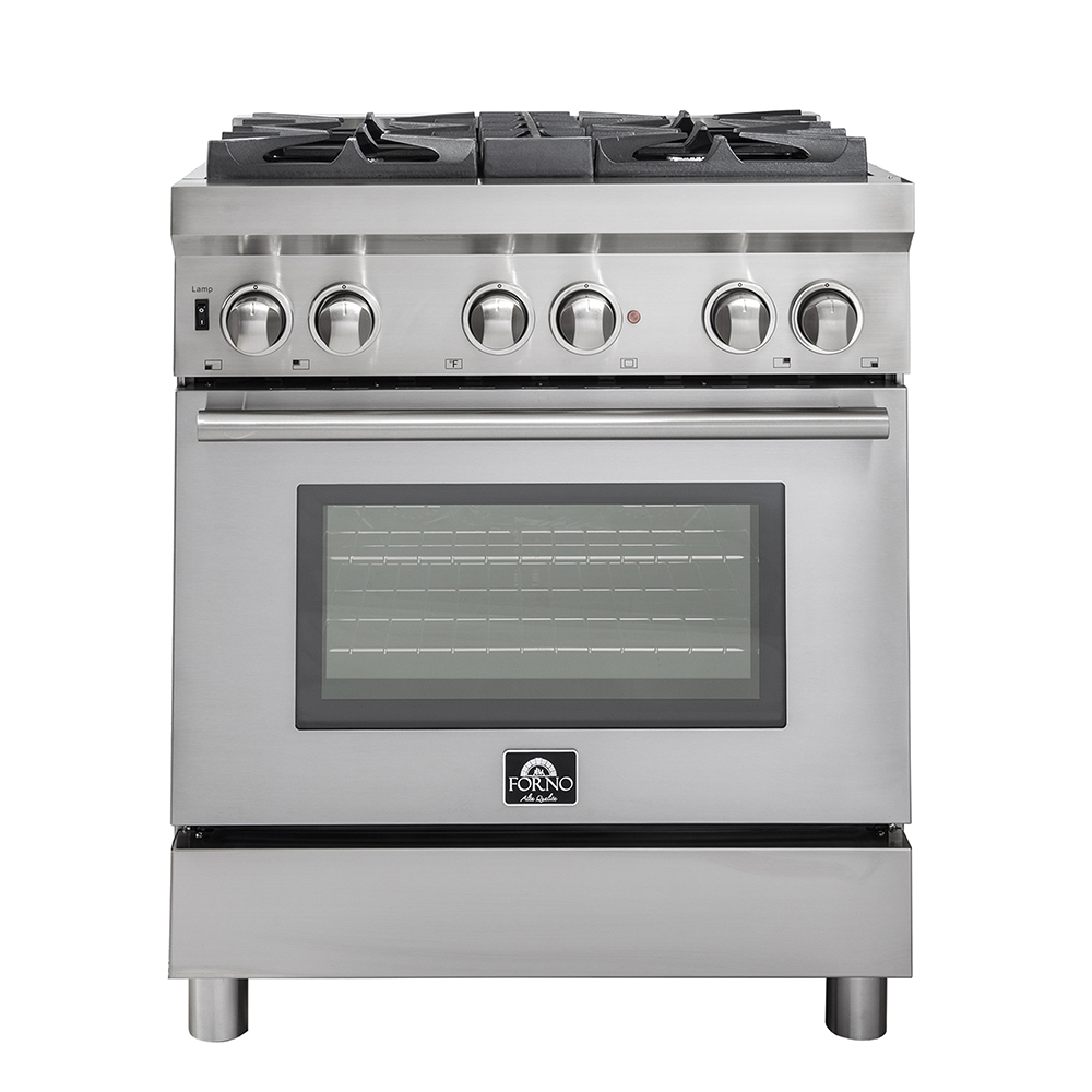 30 Gas Range With 240 Volt Electric Oven Dual Fuel Free Standing Pro Style Range 304 430 Stainless Steel Design Ffsgs6188 30 Forno